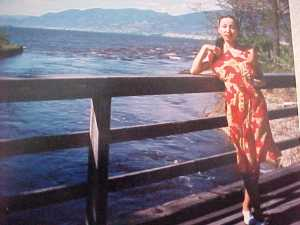 Lily takes a deep fresh breath at bridge in the OKanagan